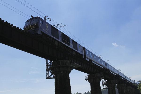 田野駅から僅かの距離にある鉄橋を渡るななつ星