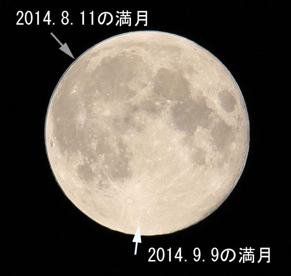 満月と満月の比較写真