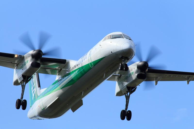 宮崎空港西側からアプローチするANAボンバルディア機