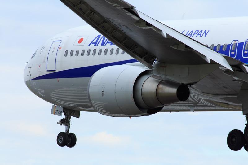 宮崎空港に着陸するANA機