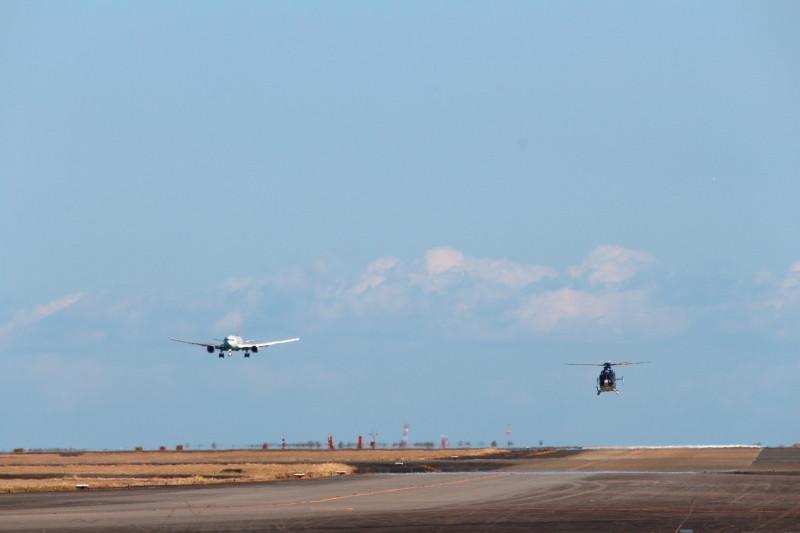 宮崎県警あおぞら号と着陸間地かのJAL機