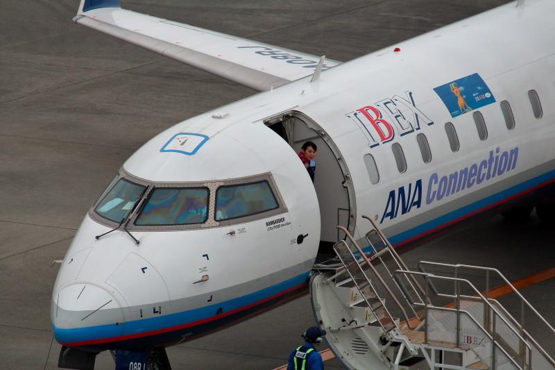 宮崎空港、お客様早く来ないかなとヤキモキ。一方パイロットは俺を撮ってと見ているように見える。