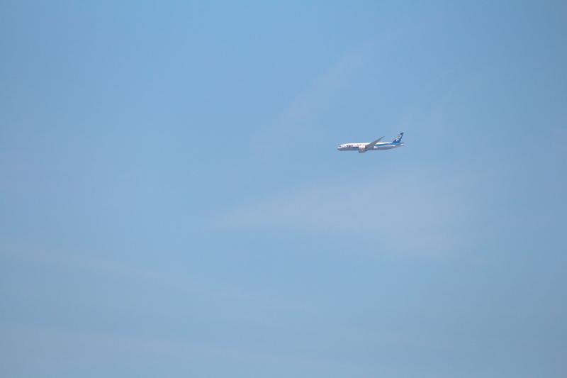 着陸準備中のB787飛行機