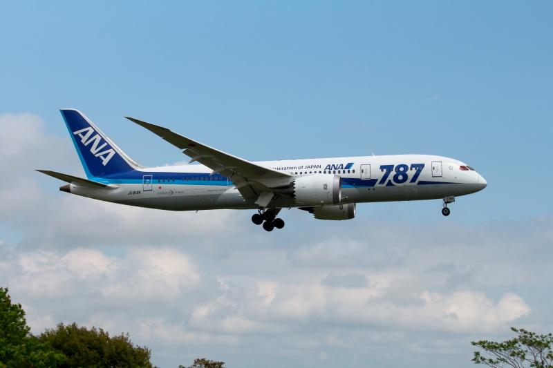B787が着陸する画像
