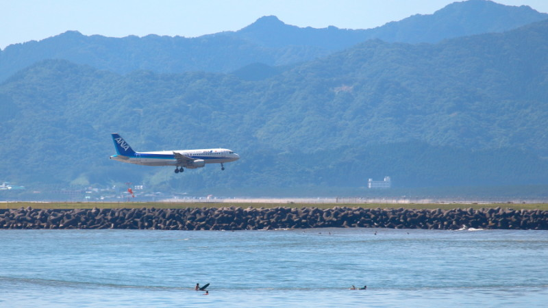 宮崎空港に着陸進入中のエアバスA320-200