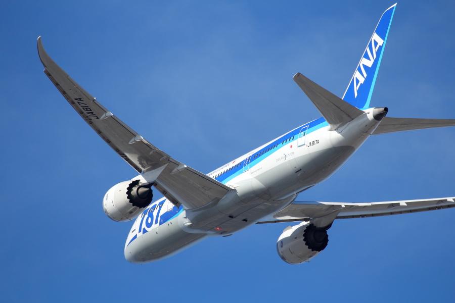 宮崎空港を離陸後航路に向かうB787飛行機