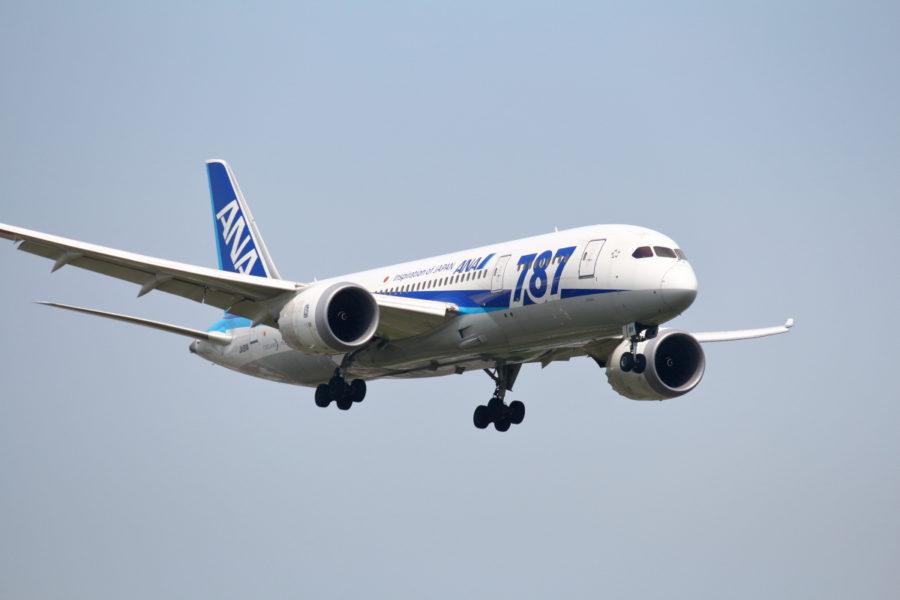 宮崎空港に着陸するB787飛行機