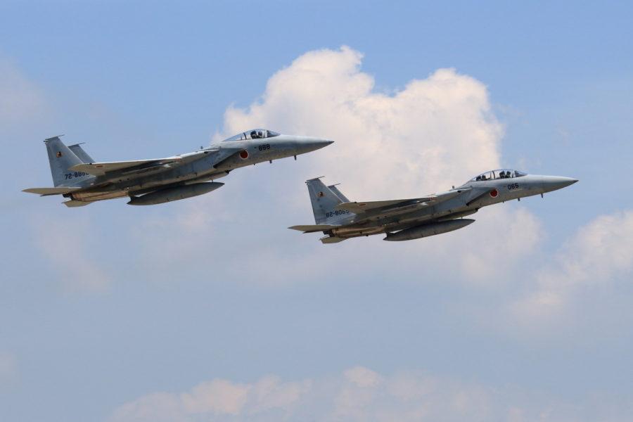 新田原基地を離陸し訓練に向かうF15イーグル