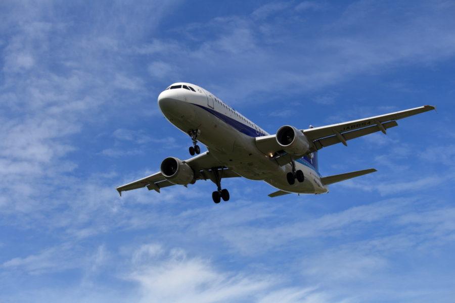宮崎空港に着陸するANAエアバス機