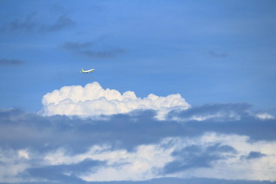 宮崎空港を東に向かっていくANA飛行機