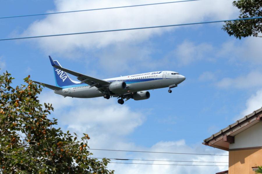 宮崎空港近くの生活圏と飛行機