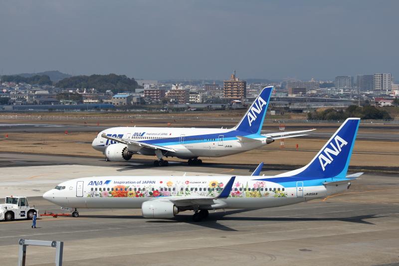 宮崎空港にそろったB787とはなジェット