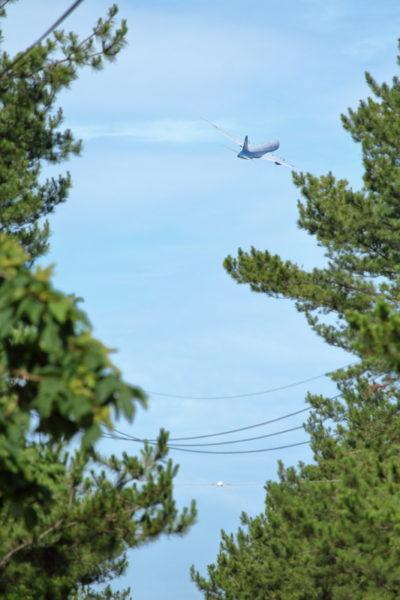 宮崎空港を東に向かうB787型飛行機