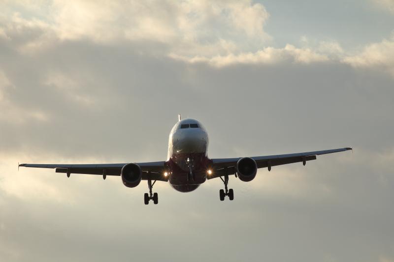 夕方宮崎空港に着陸するピーチ機の画像飛行機