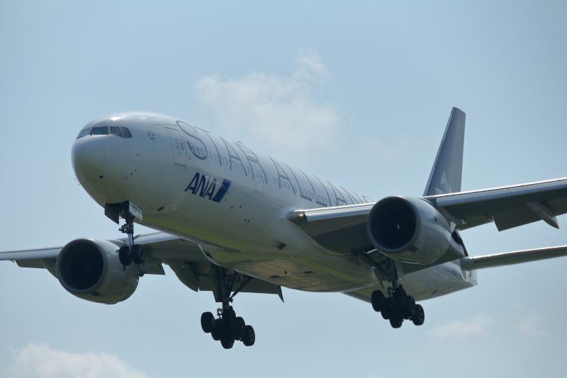 2回目の着陸態勢で宮崎空港にランディングしたANAスタアラ仕様のヒコーキ機