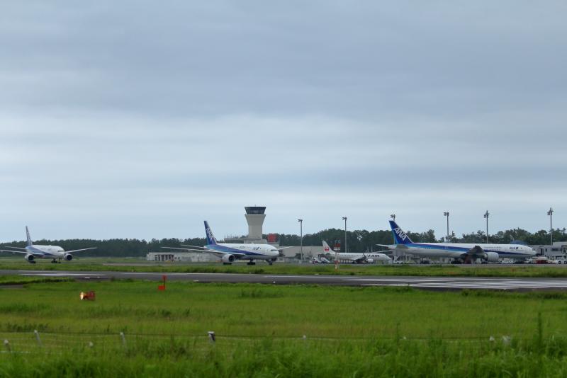 宮崎空港に集結した3機のB777型の大型飛行機