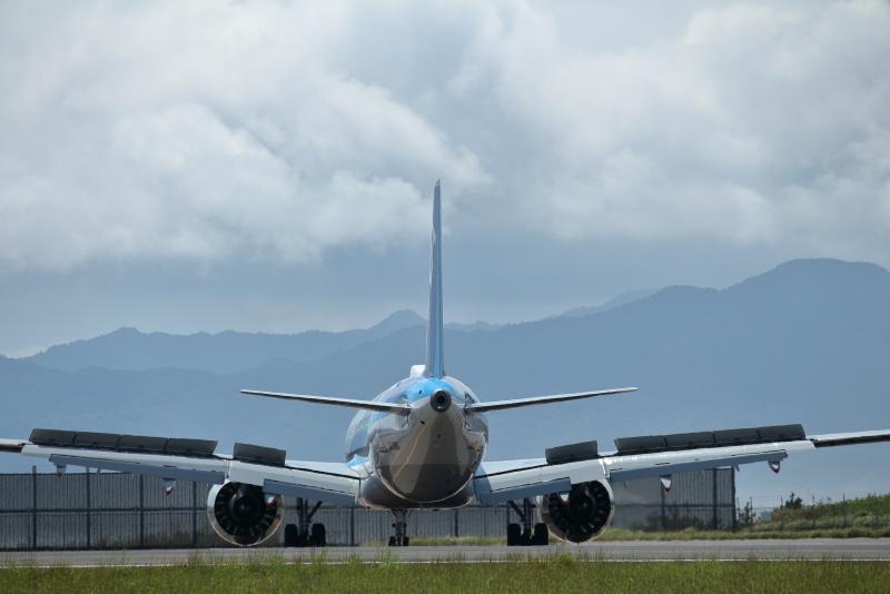 宮崎空港で優雅な舞を披露するエアバスA321Neo飛行機