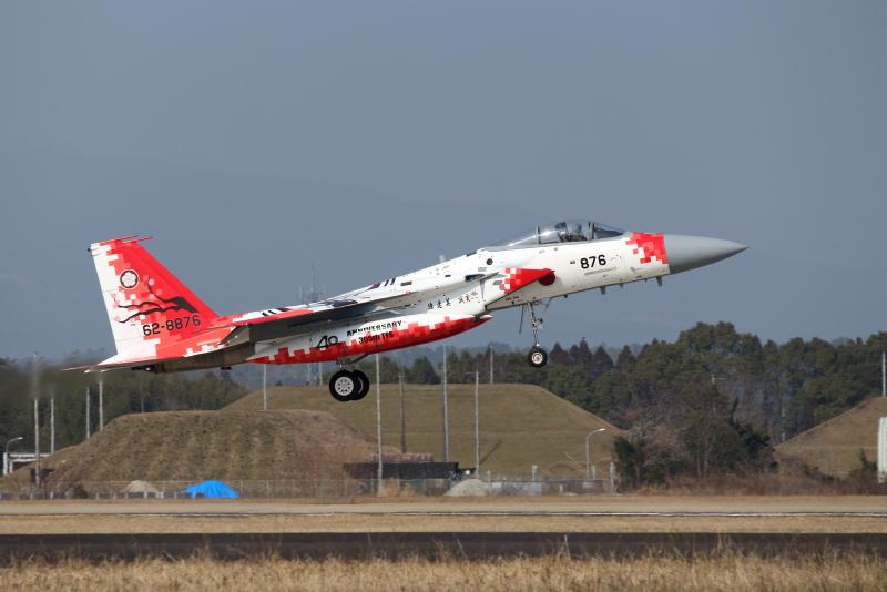 新田原基地所属の第305飛行隊のF-15戦闘機にパイントされた部隊創設40周年記念ロゴ