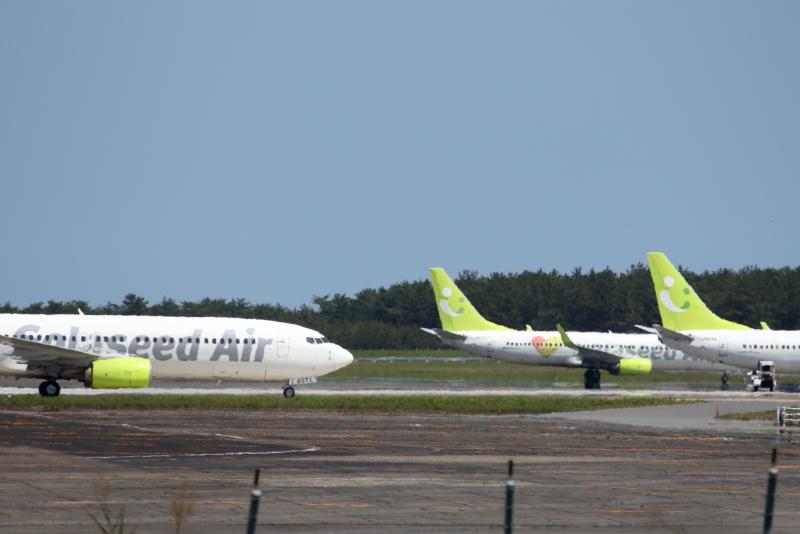 新型コロナウイルスの影響で宮崎空港には3機にのソラシドエアの飛行機がとまっている。