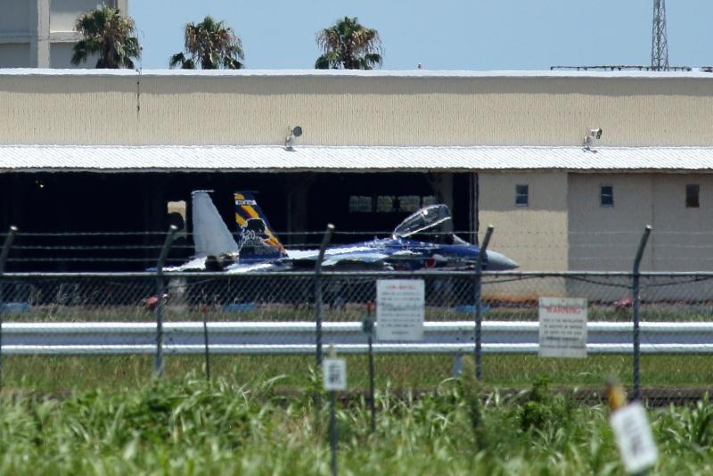 新田原基地に見たことのないF15が駐機している。特別塗装機か